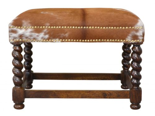 Barley, Twist, Carved, Spanish, Hide, Ottoman