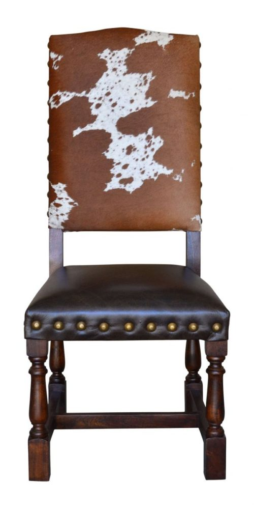 Hide Dining Chair, Brass Nails