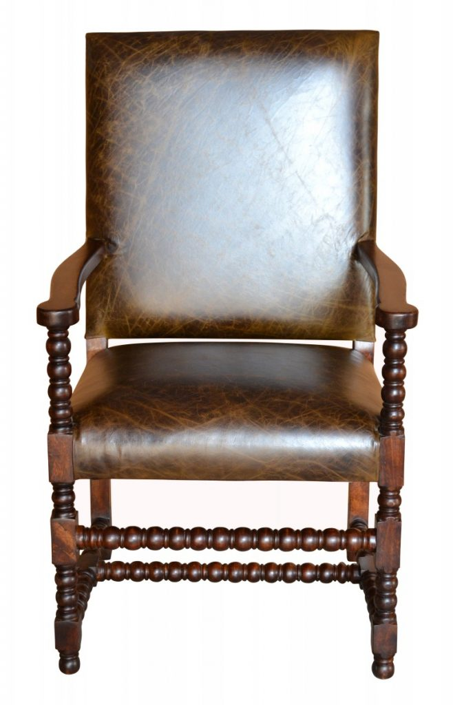 Hand Carved Bobbin Leg Distressed Leather Armchair $590. Colton Cowhide  Chair
