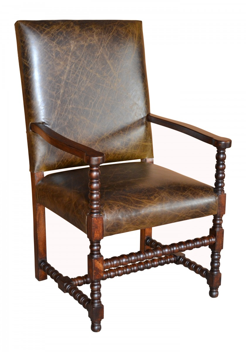 Bobbin Leg Leather Arm Chair