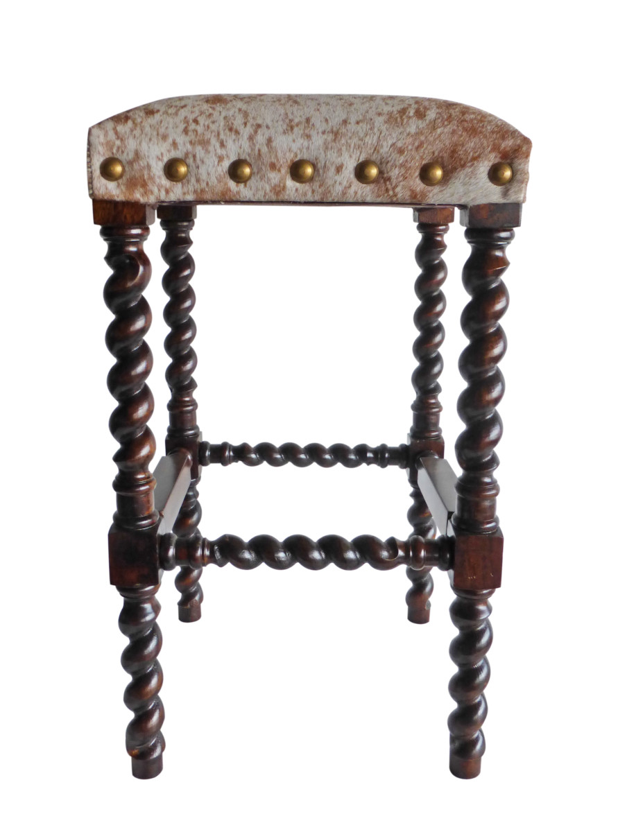 Classic Cowhide Bar Stool; Barley Twist Side Colton Cowhide Bar Stool  Without Back ...
