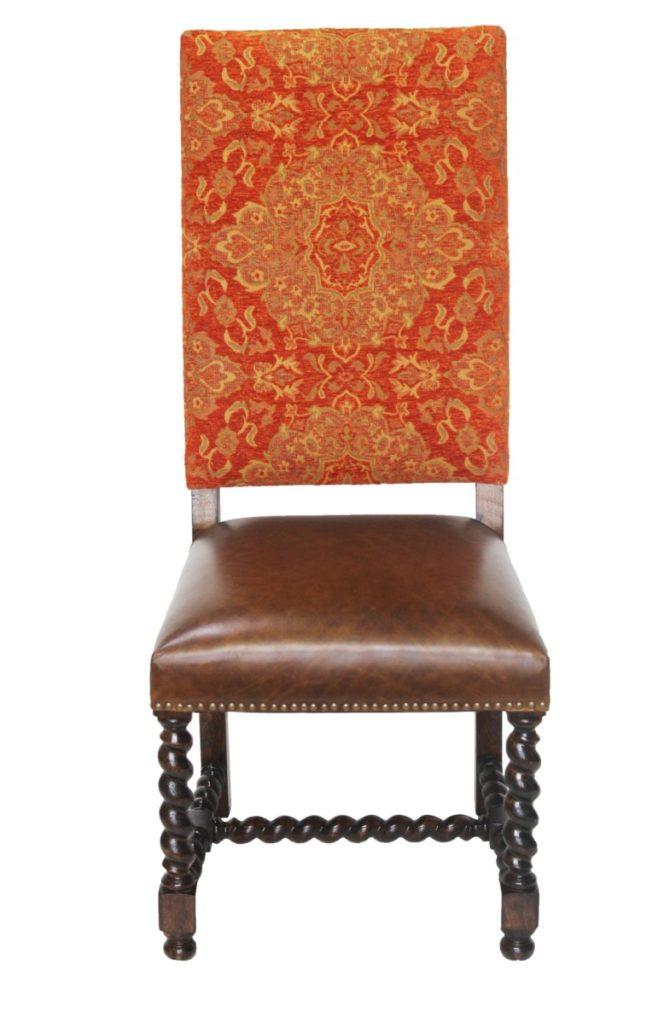Orange Chenille Barley Twist Chair