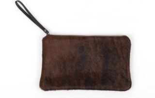 Brown + Black Cowhide Clutch